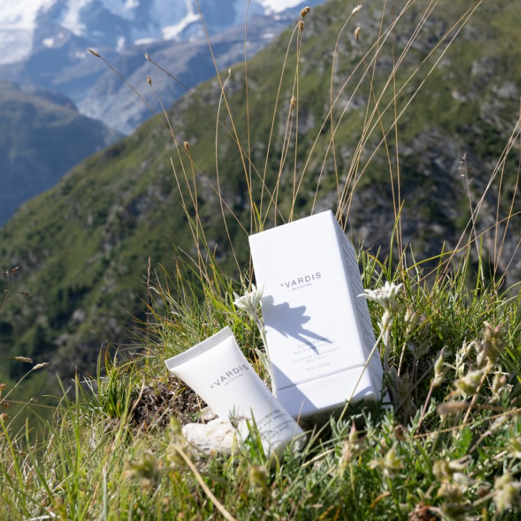 Photograph of toothpaste on Edelweiss flowers